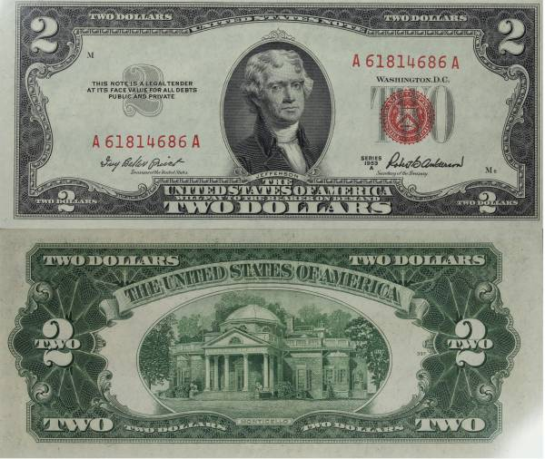 2 Two Dollar United States Note series 1953 A A61814686A Crisp Uncirculated