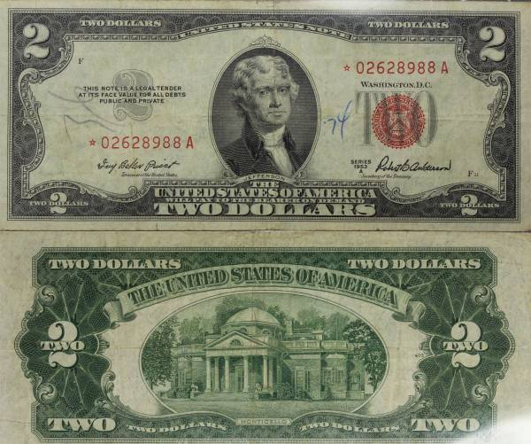 2 Two Dollar United States Note series 1953 G 02628988A Star Note Circulate