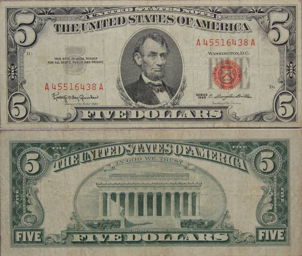 5 Dollar United States Note Red Seal A45516438A
