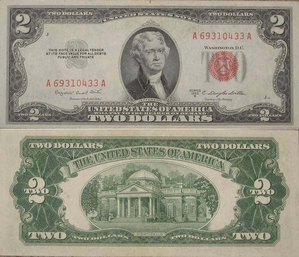 Two Dollar Bill United States Note Series 1953 B CU Crisp Uncirculated