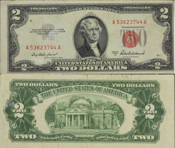 United States Note 2 Dollars 1953 A A53623744A circulated