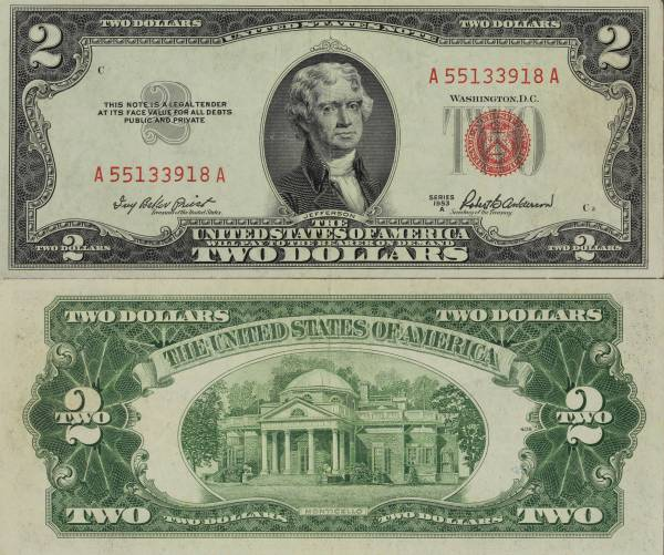 United States Note 2 Dollars 1953 A A55133918A circulated