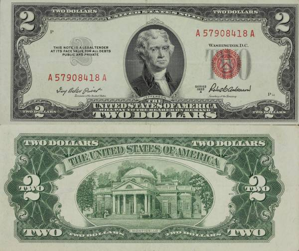 United States Note 2 Dollars 1953 A A57908418A Crisp Uncirculated