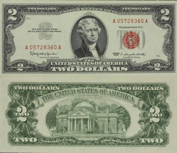 United States Note 2 Dollars 1963 A05728360A Uncirculated