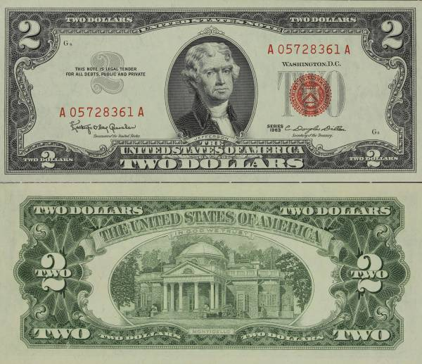 United States Note 2 Dollars 1963 A05728361A Uncirculated