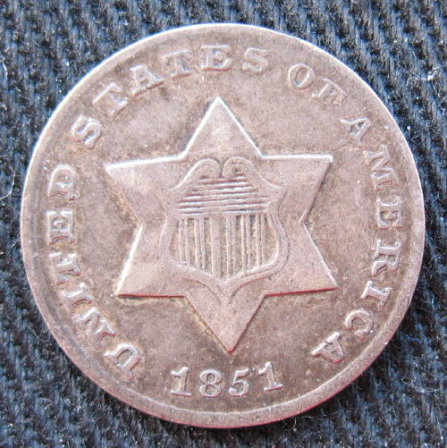 3 Cent Silver 1851-O - obverse