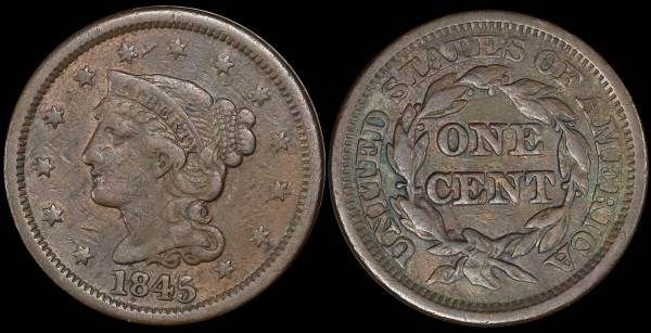 1845 Large Cent Braided Hair VF