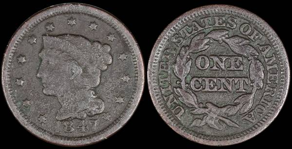 1847 Large Cent pitted damaged