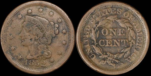 1852 Large Cent Braided Hair VF details
