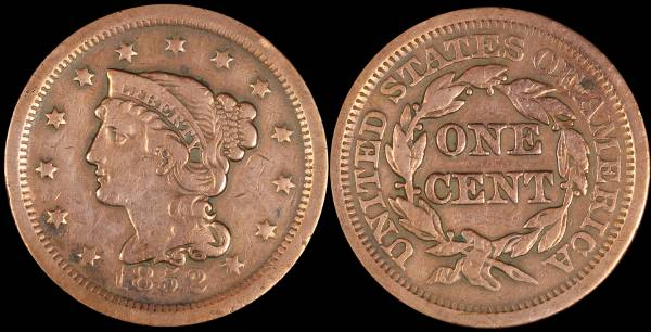1852 Large Cent VF20