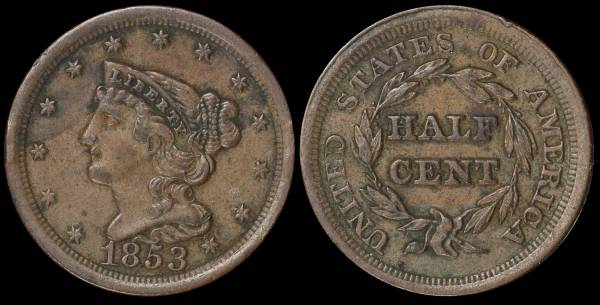 1853 Half Cent Braided Hair VF