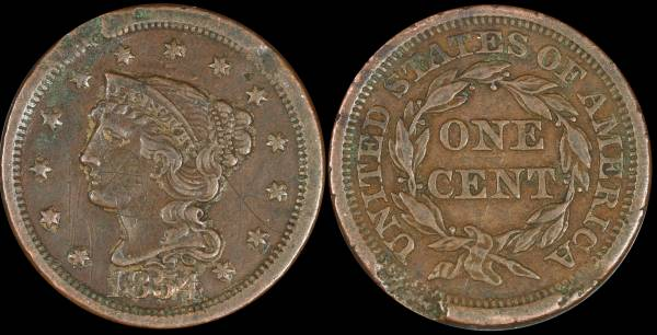 1854 Large Cent VF details damaged