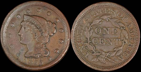 1855 Large Cent Very Fine VF
