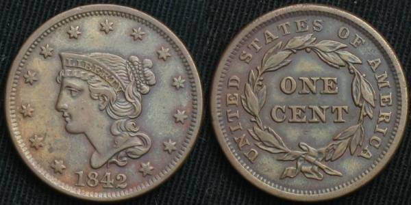 Large Cent 1842 large date