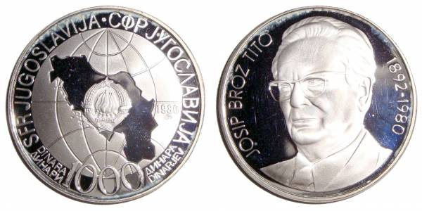 YUGOSLAVIA (SOCIALIST FEDERAL REPUBLIC)~1,000 Dinara 1980 *Proof*