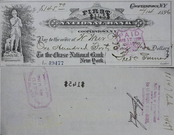 First National Bank Cooperstown NY Check 49477