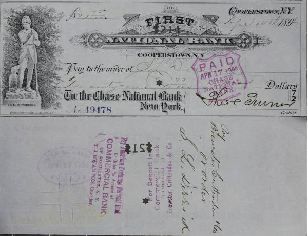 First National Bank Cooperstown NY Check 49478