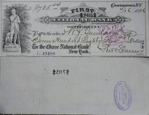First National Bank Cooperstown NY Check 49488