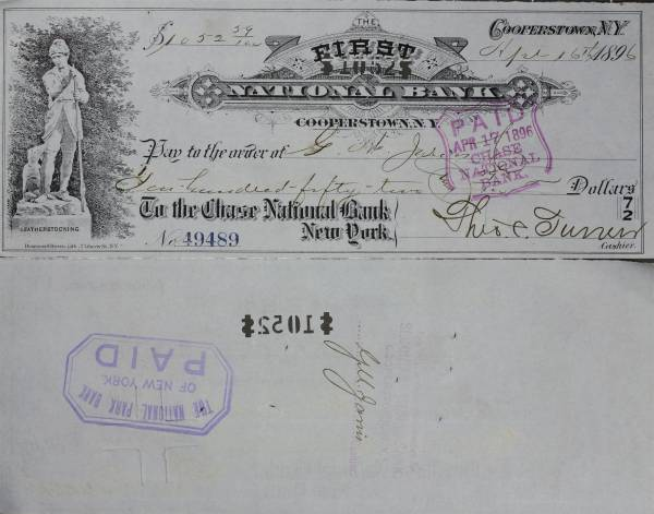 First National Bank Cooperstown NY Check 49489