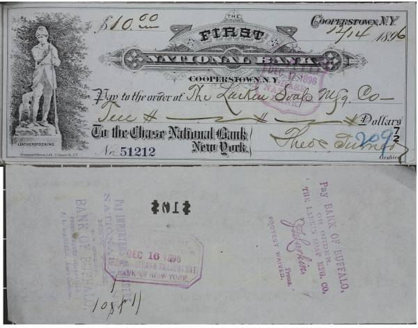 First National Bank Cooperstown NY Check 51212