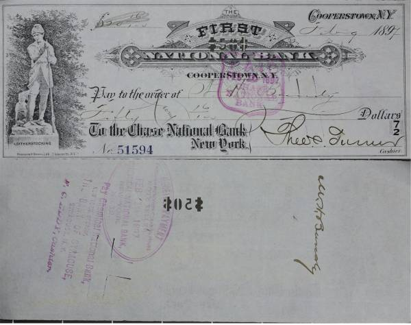First National Bank Cooperstown NY Check 51594