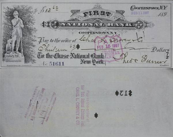 First National Bank Cooperstown NY Check 51611