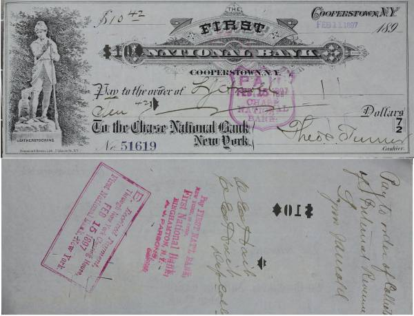 First National Bank Cooperstown NY Check 51619