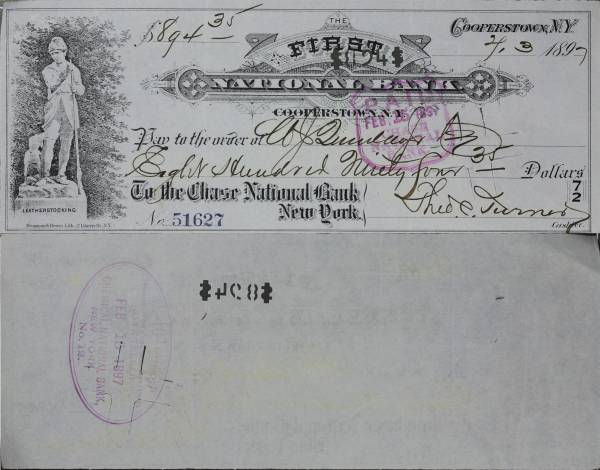 First National Bank Cooperstown NY Check 51627